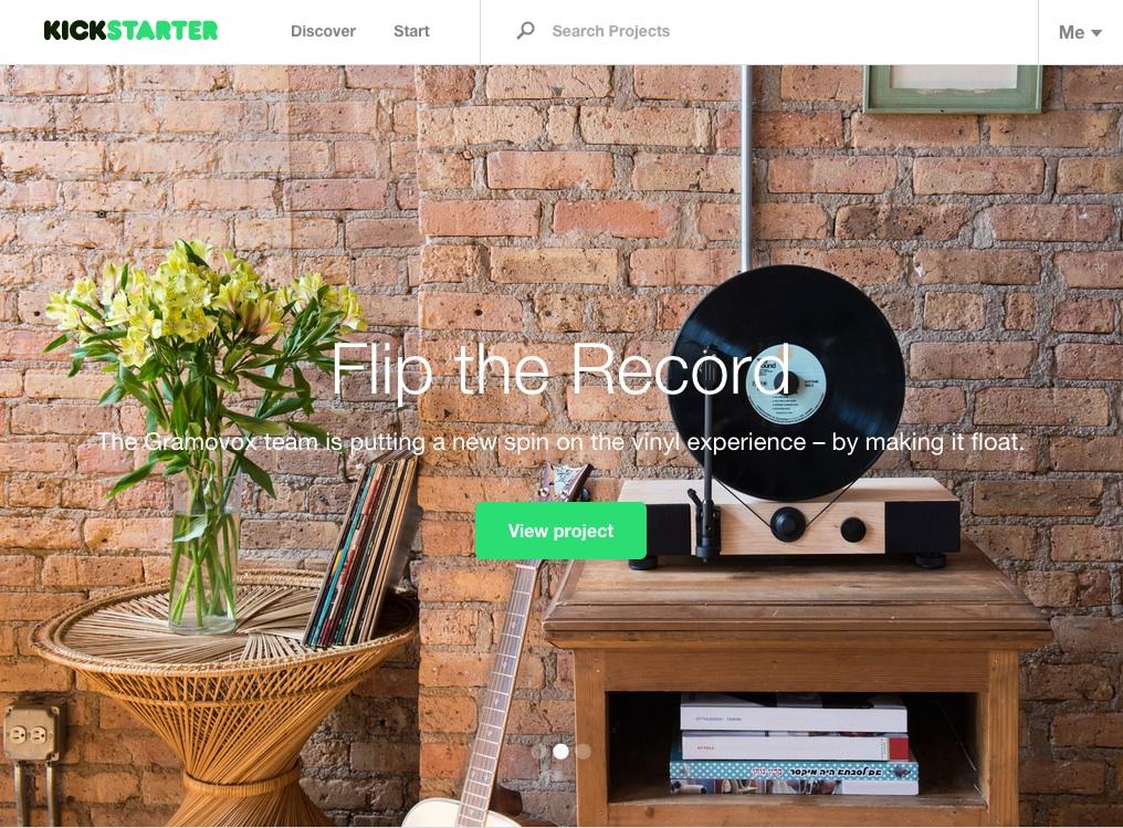 Kickstarterのトップ画像
